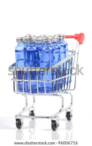 Shopping cart and vials