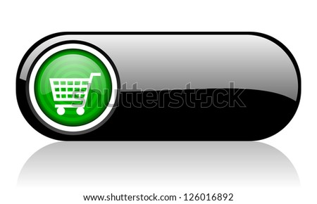 shopping cart black and green web icon on white background - stock photo