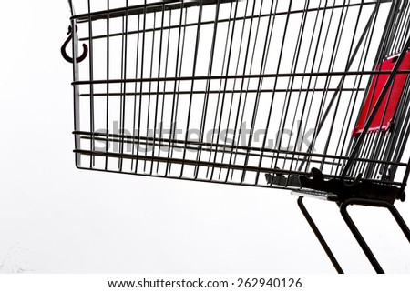 Shopping cart, close up - stock photo