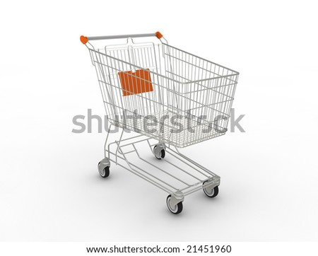 Shopping cart. 3D generated image. - stock photo