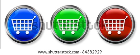 Shopping Cart 3-D RGB Buttons - stock photo