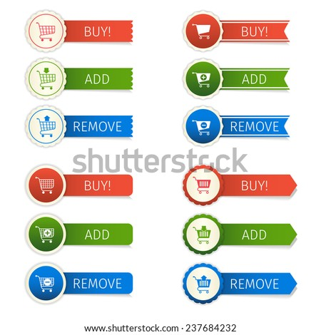 Shopping cart e-commerce web design elements paper sticker set isolated  illustration