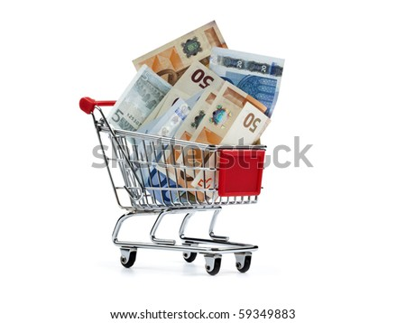 shopping cart filled with european currency notes, isolated on white