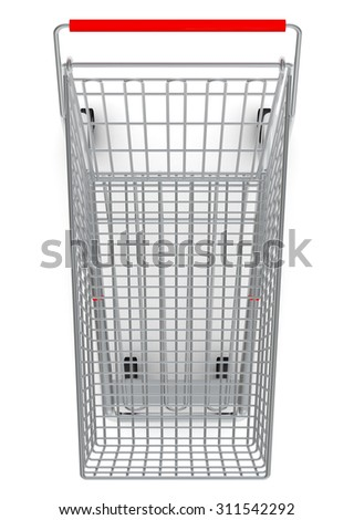 Shopping cart for purchase with red handle on isolated white background, top view - stock photo
