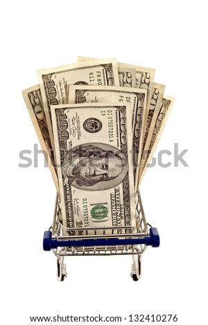 Shopping Cart Full Of Money/ Isolated On White Background/ Vertical Shot - stock photo