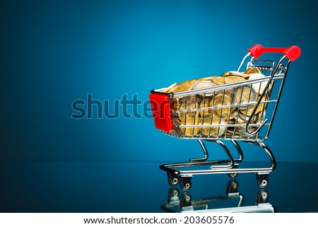 shopping cart full of money on blue background - stock photo