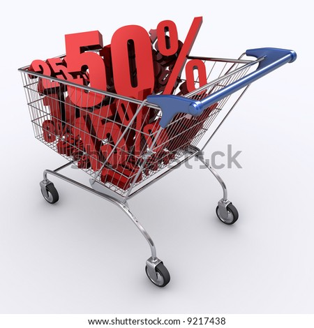 Shopping cart full of percentage. Concept of discount. - stock photo