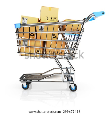 Shopping cart full of purchases in packages isolated on white background with reflection - stock photo