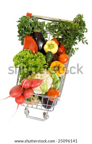 Shopping cart full of vegetables - top view  - isolated