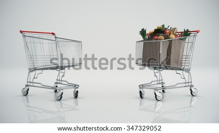 Shopping cart full with products