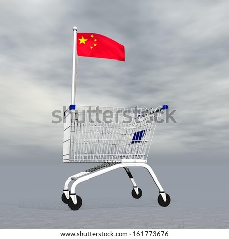Shopping cart holding chinese flag to symbolize commerce in China into grey cloudy background - stock photo