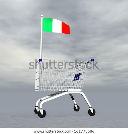 Shopping cart holding italian flag to symbolize commerce in Italy into grey cloudy background - stock photo