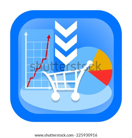 Shopping cart icon with sales growth graph and business diagram - stock photo
