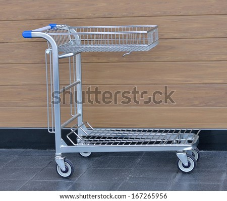Shopping cart in Selling building materials - stock photo