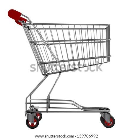 Shopping cart isolated on white - stock photo