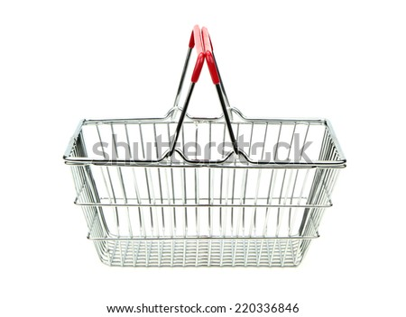 Shopping cart isolated on white background. - stock photo