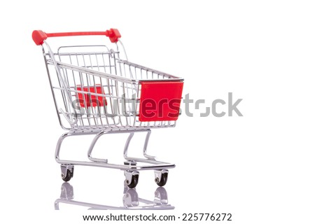 Shopping cart isolated on white background - stock photo