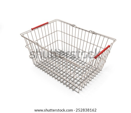 Shopping cart isolated on white background. 3d render image. - stock photo