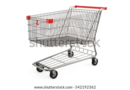 Shopping cart isolated on white background 3D rendering
