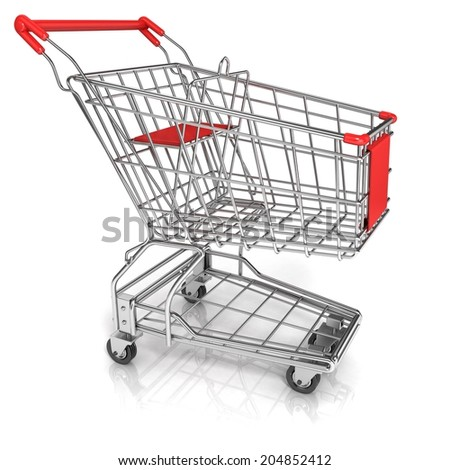 Shopping cart, isolated on white background. Side view - stock photo
