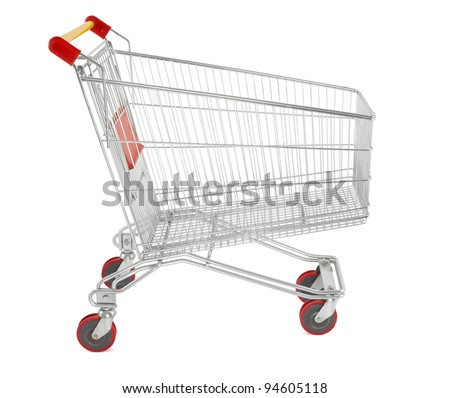 Shopping cart isolated on white, clipping path included - stock photo