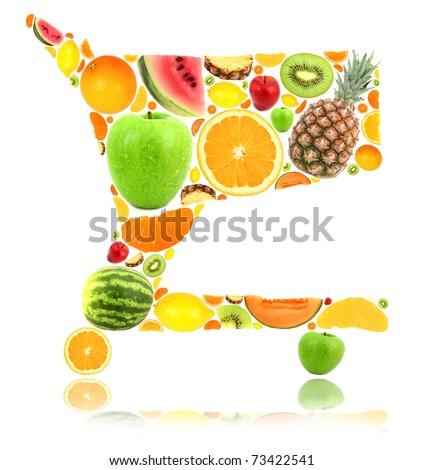 Shopping cart made of fruit isolated on white - stock photo