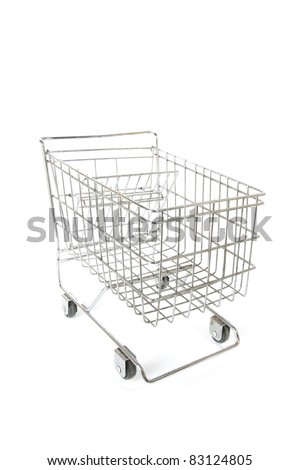 shopping cart model, empty silver metal model of shopping cart perspective. - stock photo