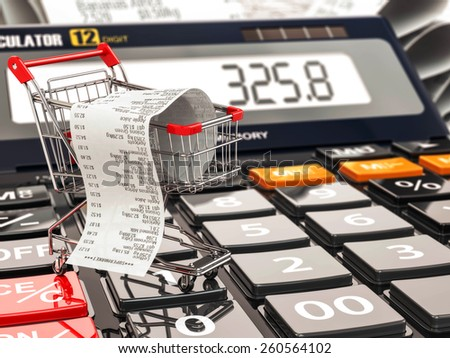 Shopping cart on calculator and receipt. Home budget or consumerism concept. 3d - stock photo