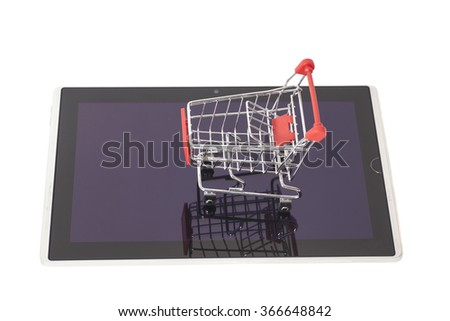 Shopping Cart  on digital tablet isolated on white