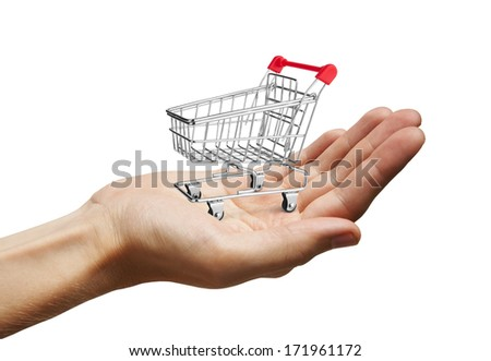 Shopping Cart on Hand, isolated on white background
