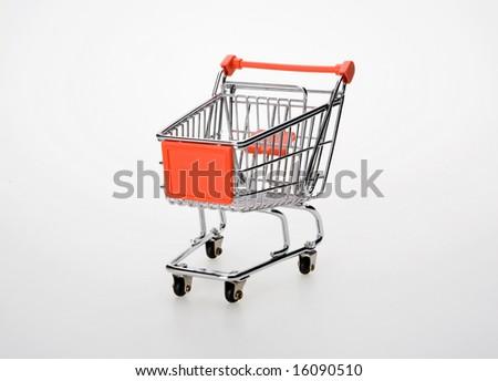 shopping cart on isolated background - stock photo