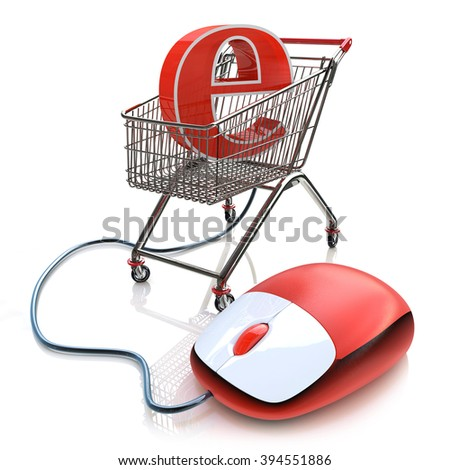 Shopping cart operated computer mouse and symbol of e-commerce in the design of the information related to the Internet - stock photo