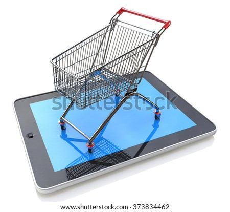 Shopping Cart over a Tablet PC on white background in the design of information related to trade on the Internet - stock photo