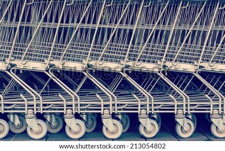 Shopping cart pattern, retro look - stock photo