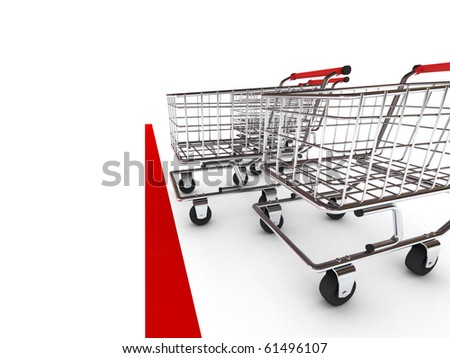 Shopping cart race. Isolated on white background. High quality 3d render. - stock photo