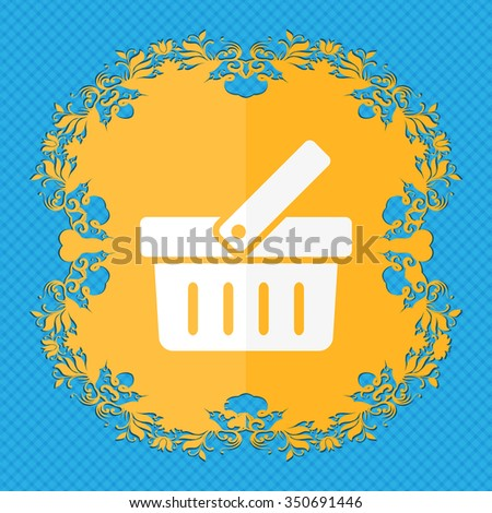 Shopping Cart sign icon. Online buying button. Floral flat design on a blue abstract background with place for your text. illustration - stock photo