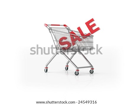 "Shopping cart (trolley) containing large 3d ""Sale"" word. Computer generated retail concept image."