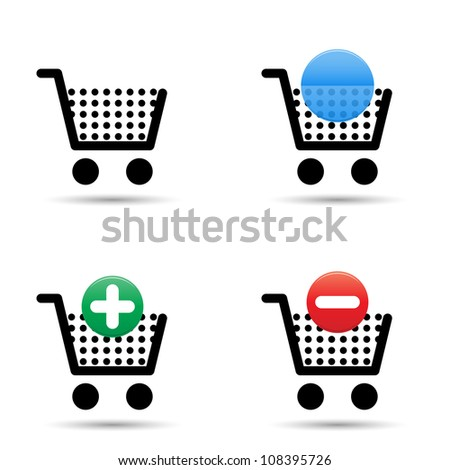 """Shopping cart trolley icons set. Includes """"empty cart"""", """"filled cart"""" with copy space for item count and valuation, """"add to cart"""" and """"remove from cart"""" icons. - stock photo"""