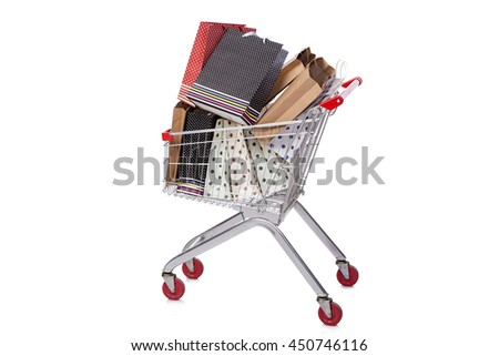 Shopping cart trolley isolated on the white background - stock photo