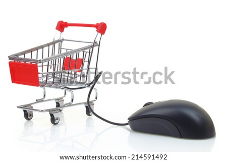 Shopping cart with a mouse isolated on white background  - stock photo
