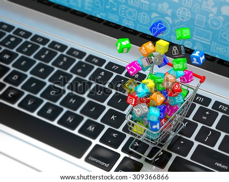 shopping cart with application software icons on laptop - stock photo