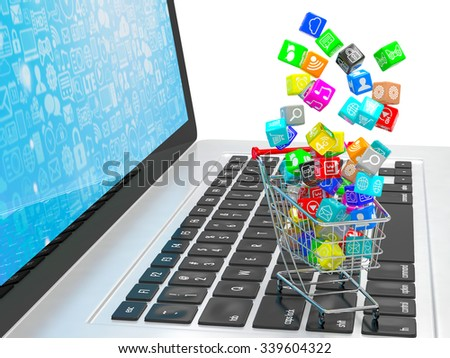 shopping cart with application software icons on laptop
