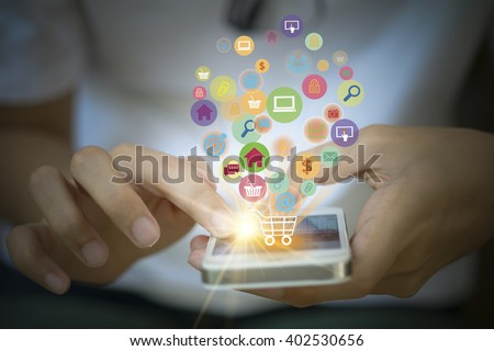 shopping cart with application software icons on mobile , business concept,  shopping online concept , business idea - stock photo