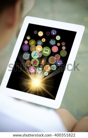 shopping cart with application software icons on tablet, business concept