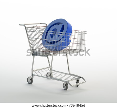 Shopping cart with 'at' sign - stock photo