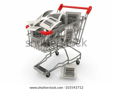 Shopping cart with barcode labels on white background. 3d - stock photo