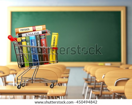 Shopping cart with book in the classroom, school desk and blackboard. Textbooks. Back to school. 3d illustration