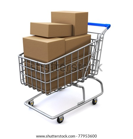 Shopping cart with boxes - stock photo