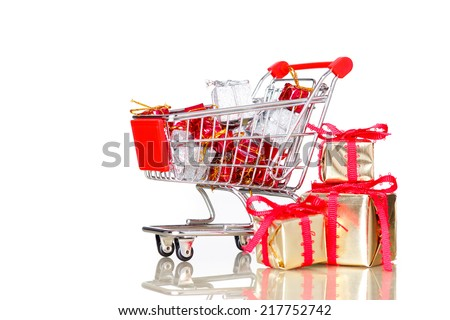 shopping cart with christmas presents - stock photo
