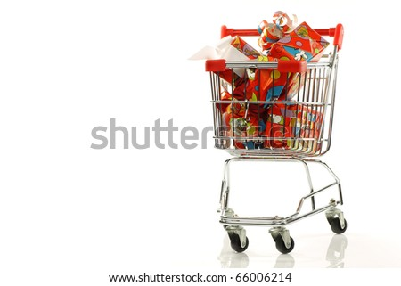 "shopping cart with colorful wrapped ""Sinterklaas""presents on a white background"
